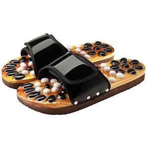 CASADA Масажни чехли за рефлексотерапия с естествени камъни - черен цвят - размер L / № 39 - 41