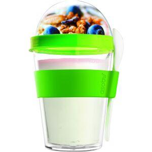 """ASOBU Двустенна чаша с лъжичка""""YO 2 GO"""" - цвят зелен"""