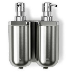 """UMBRA Сет от 2 бр. диспенсър за сапун за стенен монтаж със закачалка """"JUNIP"""" - неръждаема стомана"""